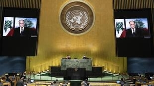Michel Aoun, le président libanais, s'adressant par visioconférence à la 75ème Assemblée générale de l'ONU, le 23 septembre 2020.