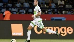 Le défenseur Ramy Bensebaini, buteur face au Bénin.