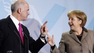 德国总理默克尔3月5日在柏林会晤了希腊总理帕潘德里欧