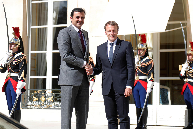 امیر قطر و رئیس جمهوری فرانسه