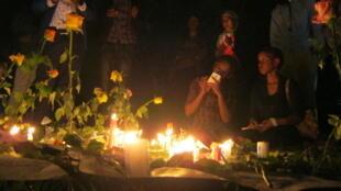 A candle-light vigil in Nairobi's Uhuru Park for Garissa victims