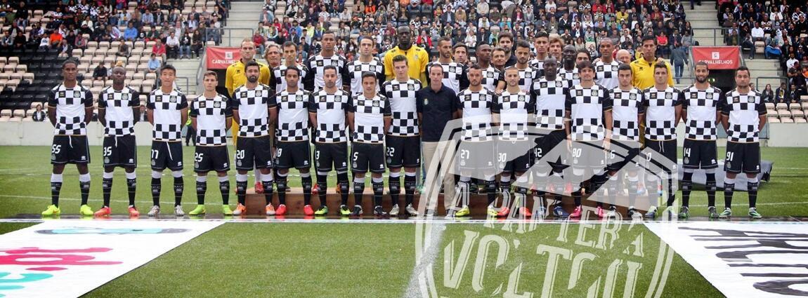O plantel do Boavista 2014/15, orientado por Petit, no regresso após seis anos à Primeira Liga Portuguesa
