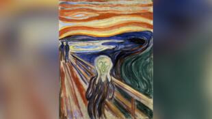 Œuvre intitulée «Le cri» de l'artiste norvégien Edvard Munch (1863-1944). Cette œuvre a été réalisée en 1893.