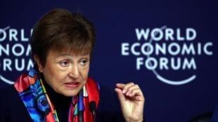 La directrice générale du FMI, Kristalina Georgieva, lors d'une conférence de presse avant le Forum économique mondial (WEF) à Davos, en Suisse, le 20 janvier 2020.