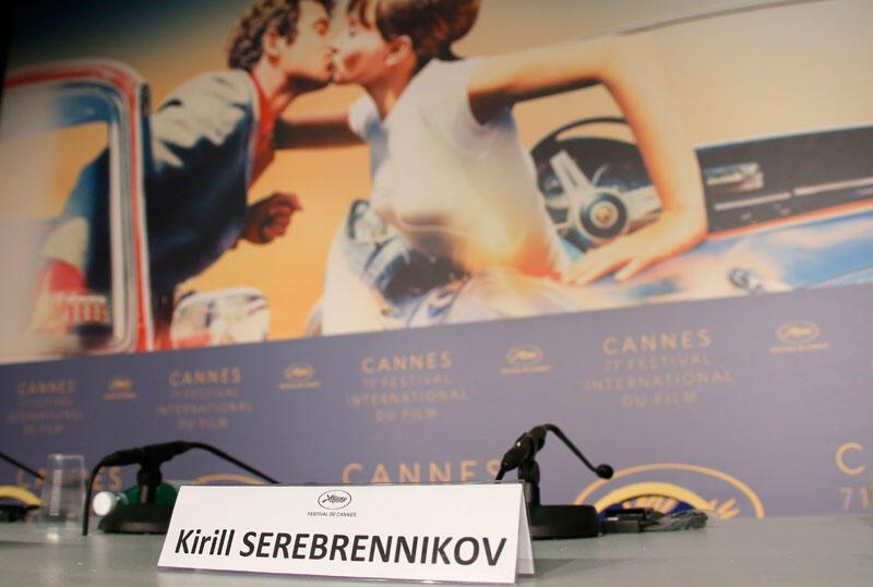 Lugar vazio do diretor do filme Leto, Kirill Serebrennikov, em prisão domiciliar na Rússia.