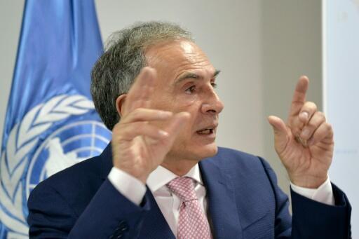 Jean Arnault, jefe de la misión política de la ONU en Colombia para el proceso de paz, habla durante una conferencia de prensa el 2 de agosto de 2016 en Bogotá