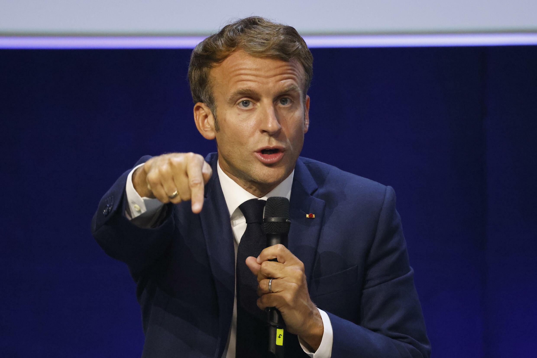 El presidente francés, Emmanuel Macron, pronuncia un discurso durante el Congreso Mundial de la Naturaleza de la UICN, el 3 de septiembre de 2021 en Marsella, en el sur de Francia.