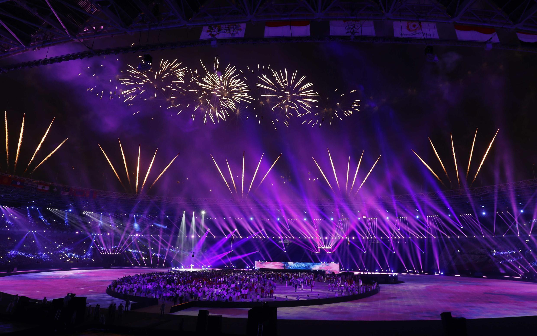 Cérémonie de clôture de l'édition 2018 des Jeux asiatiques, dimanche 2 septembre à Jakarta, au stade Gelora Bung Karno.