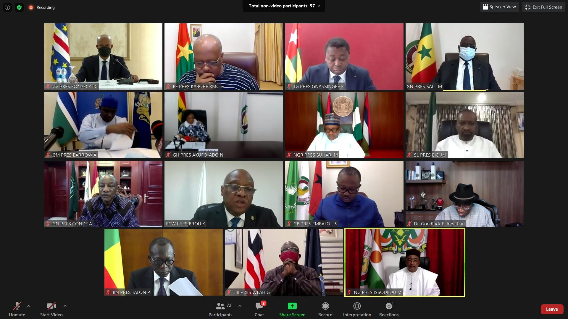 Picha ya skrini ya mkutano wa marais wa ECOWAS kupitia video kuhusu Mali, Agosti 20, 2020 (picha ya kumbukubu).