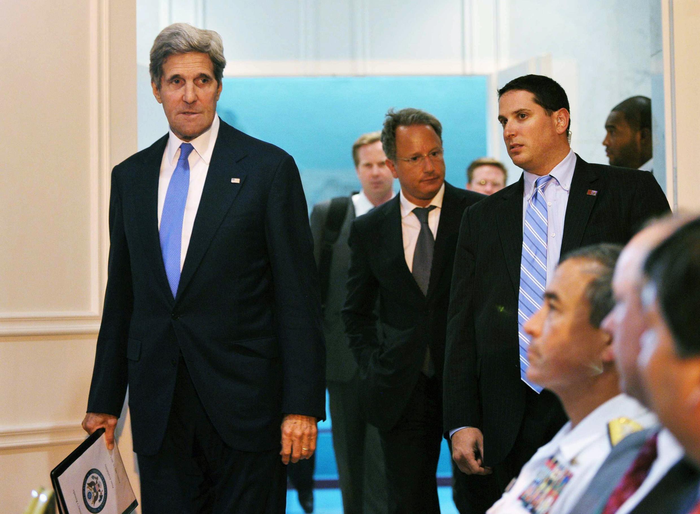 Le secrétaire d'Etat américain, lors de son arrivée à Aman, pour une nouvelle réunion de négociation. Le 19 juillet 2013.