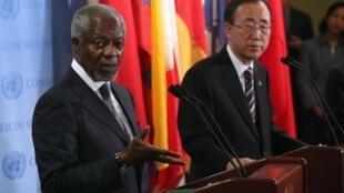 Le représentant de l'ONU en Syrie Kofi Annan et le secrétaire général des Nations unies, Ban Ki-moon, à New York le 7 juin 2012.