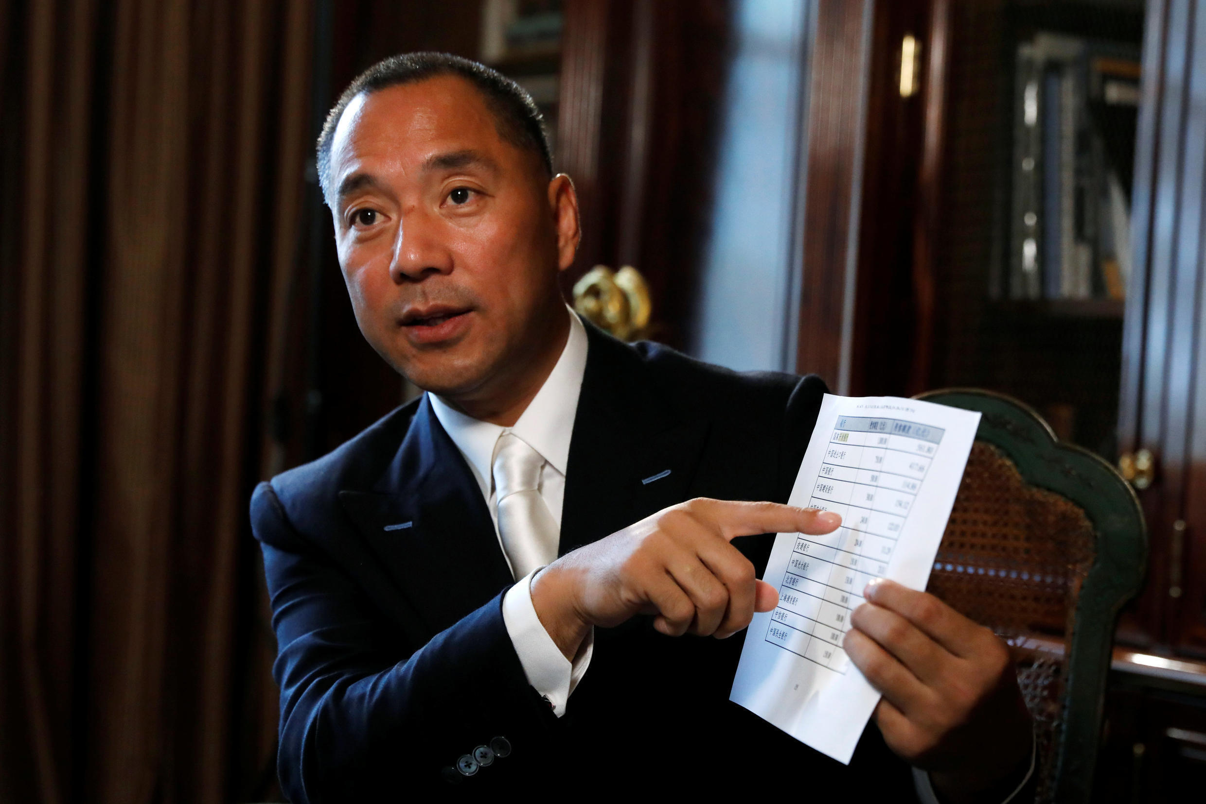 Billionaire businessman Guo Wengui speaks during an interview in New York City, U.S., April 30, 2017. Picture taken April 30, 2017.