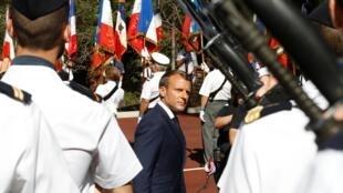 Tổng thống Pháp Macron chủ trì lễ tưởng niệm các chiến sĩ của cuộc đổ bộ ở Provence ngày 15/08/2019.