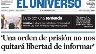 Primera plana del diario ecuatoriano El Universo.