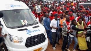 Dubban mutane na juyayin faretin karshe da akayi wa Morgan Tsvangirai a Harare, Zimbabwe 19 ga watan Fabarerun 2018
