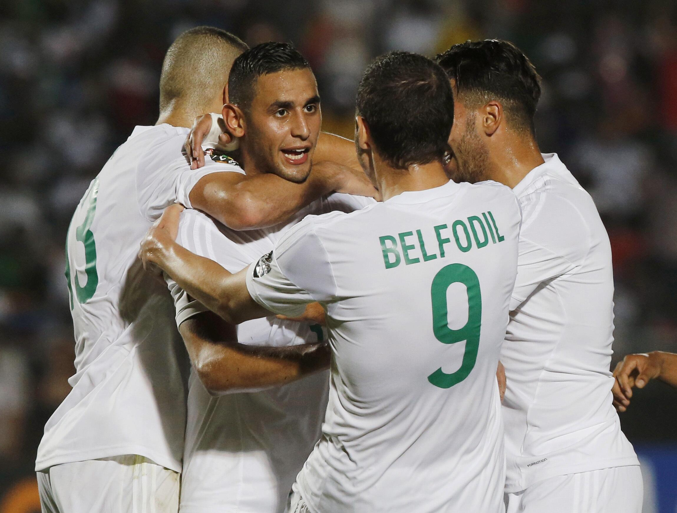 Algeria's Faouzi Ghoulam celebrates his goal during their match against South Africa on 19 January, 2015