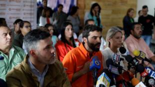 Les cadres du parti d'opposition vénézuélien Voluntad Popular, dont Juan Andrés Mejía en orange, le 26 janvier 2018 à Caracas.