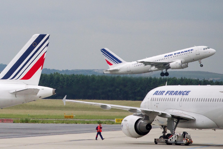 Aviones de Air France en el aeropuerto Roissy-Charles de Gaulle, en Francia, el 1 de junio de 2012