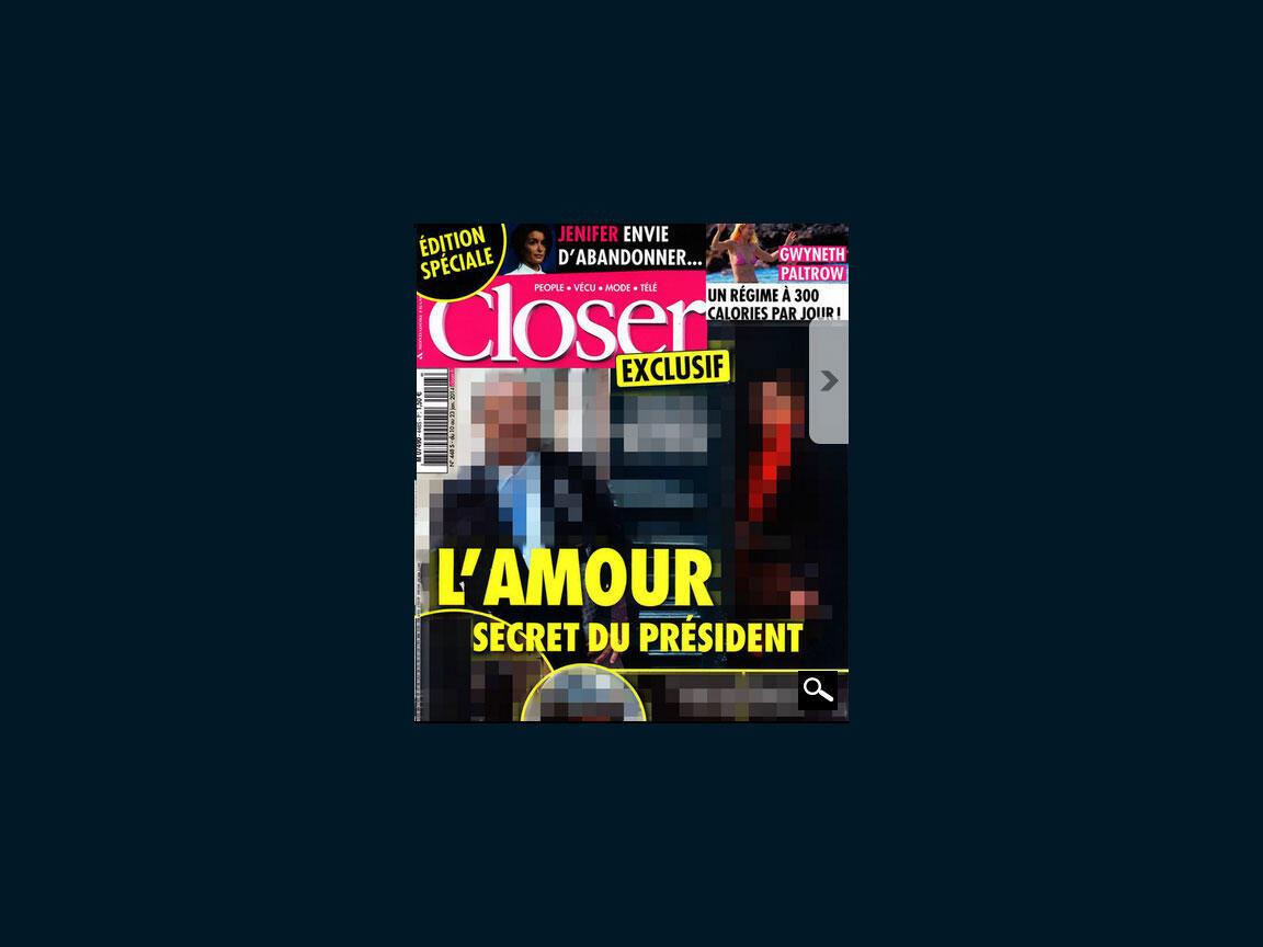 Captura vídeo do site da revista Closer que publicou na sua edição semanal fotos do presidente François Hollande entitulada: O amor secreto do presidente.