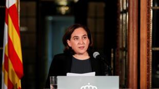 A prefeita de Barcelona, Alda Colau, durante discurso em 9 de outubro de 2017.