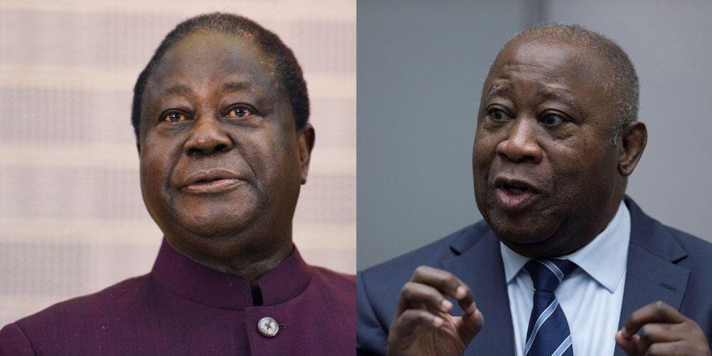 Photomontage représentant les deux anciens présidents ivoiriens Henri Konan Bedié (G) et Laurent Gbagbo ( D).
