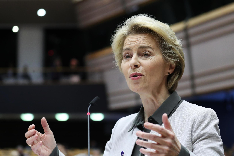 """European Commission president Ursula von der Leyen unveils her """"Green Deal"""" before the European Parliament in Brussels on December 11, 2019."""