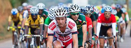 Des cyclistes en compétition sur le tour du Rwanda.
