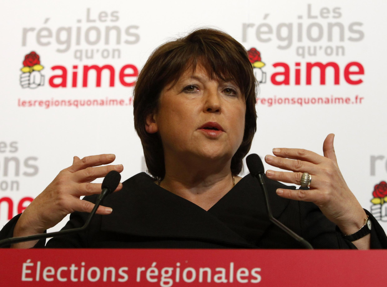 La primera secretaria del Partido Socialista, Martine Aubry, en su discurso tras conocer los resultados, París 14 de marzo.