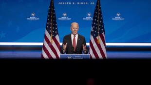 Joe Biden responde preguntas de los periodistas desde Wilmington, Delaware, el 19 de noviembre de 2020