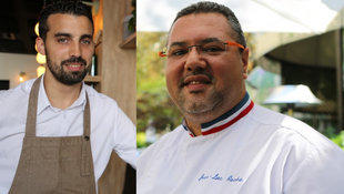 Micael Morais, 'sommelier' no 'Tomy&Co, e Jean-Luc Rocha, 'chef' no 'Saint James Paris'.