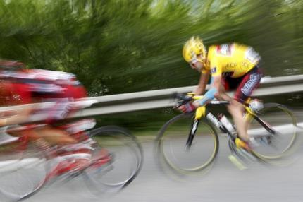 BMC Racing's Cadel Evans of Australia cycles during the ninth stage of the Tour de France cycling race between Morzine-Avoriaz and Saint-Jean-De-Maurienne