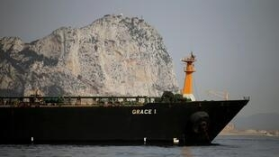 FILE: Iranian oil tanker Grace 1 sits anchored after it was seized by British Royal Marines off the coast of the British Mediterranean territory on suspicion of violating sanctions against Syria, in the Strait of Gibraltar, southern Spain July 20, 2019.