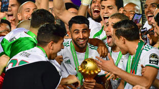 Riyad Mahrez (centre) skippered Algeria to the 2019 Africa Cup of Nations title.
