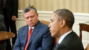 Le roi Abdallah II de Jordanie à gauche, avec Barack Obama à la Maison Blanche à Washington, en avril 2013.