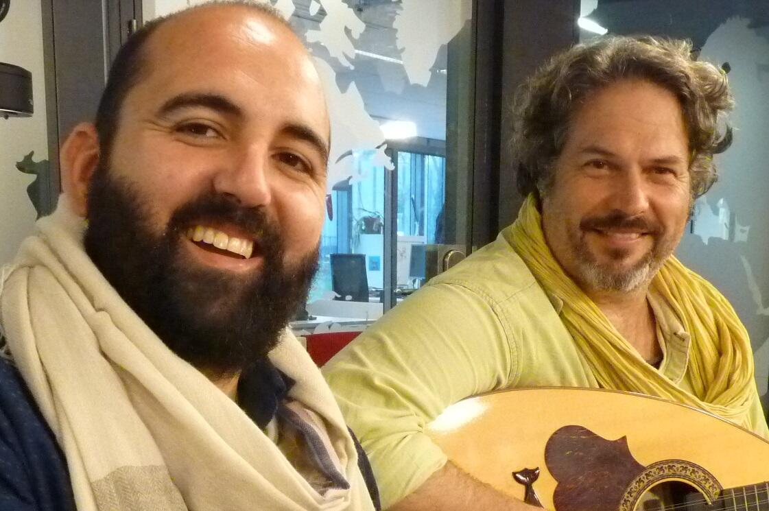 José María Cala y José Cabral en los estudios de RFI