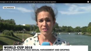 Kethevane Gorjestani, journaliste à France 24, victime de harcèlement à la Coupe du monde de football en Russie (capture d'écran).