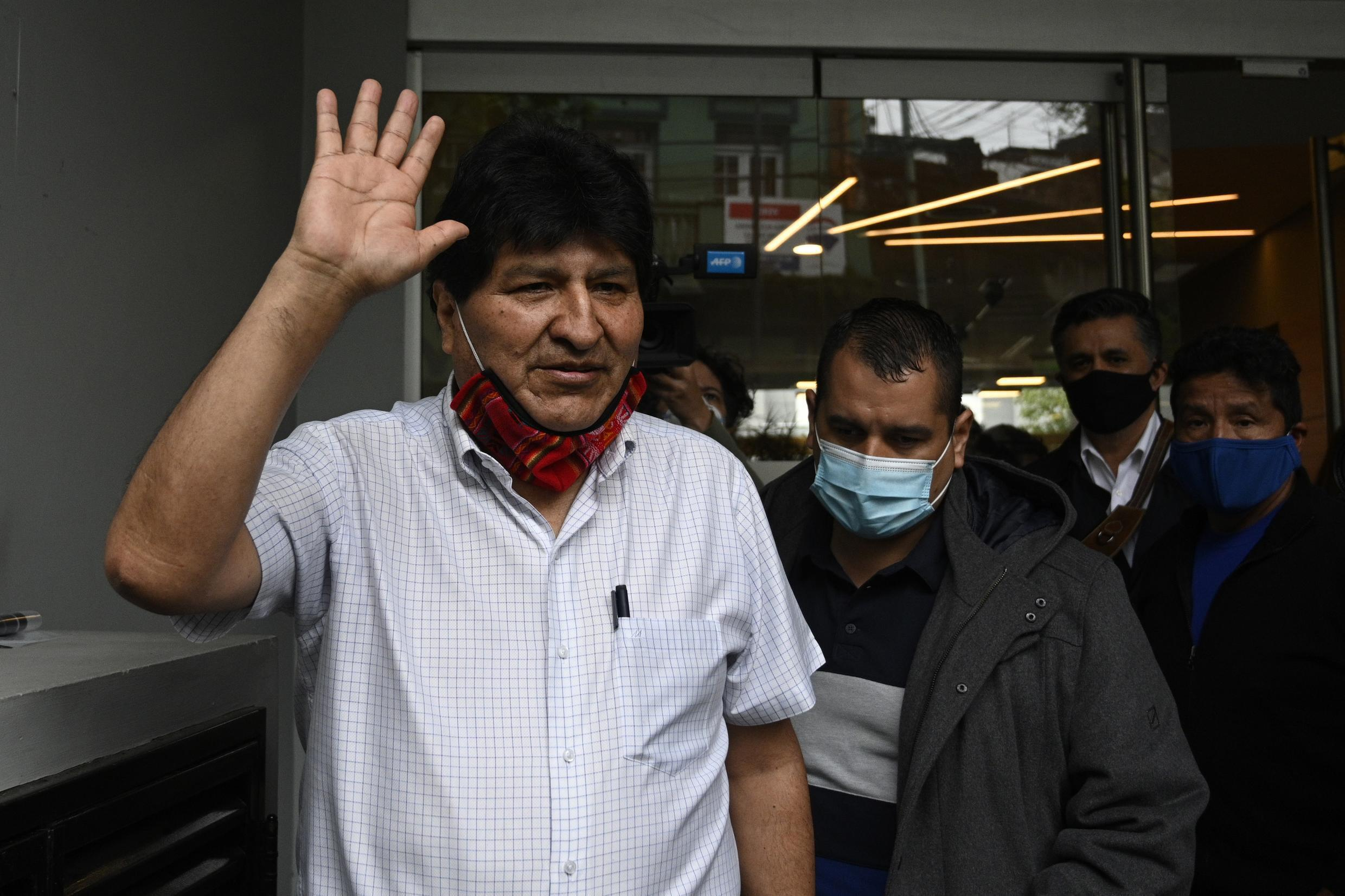 Former Bolivian president Evo Morales, pictured here on October 22, 2020, left Argentina for Venezuela on Friday, a report said