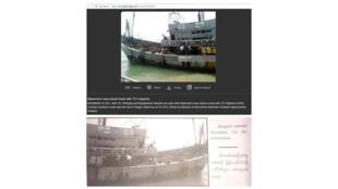 Ảnh thật (dưới) và ảnh giả, chỉnh sửa về vụ người Rohingya đăng trong cuốn sách của quân đội Miến Điện.