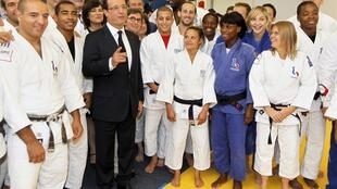 President Francois Hollande, Minister of Sport, Youth and Associations, and Minister Delegate for Disabled People and the Fight against Exclusion, members of the French Judo team for the Olympic Games during a visit at the training headquarters of INSEP