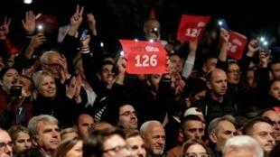 Au dernier meeting de campagne du parti Autodétermination, le 4 octobre 2019, à Pristina.