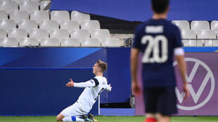 Marcus Forss (Ieft) scored Finland's first goal in their 2-0 victory over France.