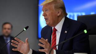 美国总统特朗普与七国集团领袖开视频会议。