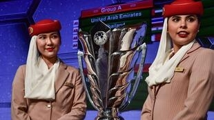Le trophée de la Coupe d'Asie de football lors du tirage au sort de l'édition 2019 à Dubaï, le 4 mai 2018.