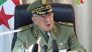 Algeria's army chief of staff Lieutenant General Ahmed Gaid Salah speaks during a meeting in Algiers, Algeria, in this handout still image taken from a TV footage released on April 2, 2019.
