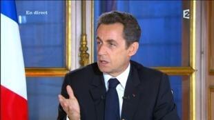 Nicolas Sarkozy durante su entrevista televisada del 16 de noviembre