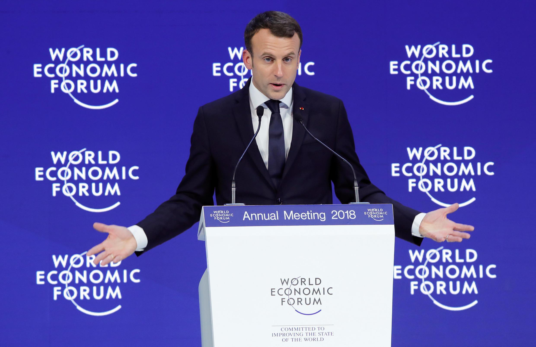 Эмманюэль Макрон на экономическом форуме в Давосе, 24 января 2018 г.