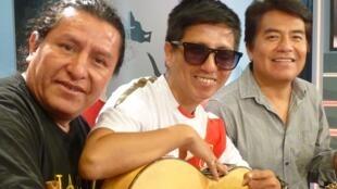 Sandro 'Samponia' Martínez, Riber Oré y Ricardo Delgado en los estudios de RFI
