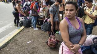 Des migrants vénézuéliens arrivant à Tumbes, au Pérou, le 14 juin 2019 (photo d'illustration).