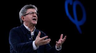 Jean-Luc Melenchon, Lãnh đạo đảng La France Insoumise diễn thuyết trong cuộc mít tinh vận động tranh cử tổng thống tại Rennes ngày 26/03/2017.
