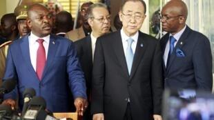 Shugaban Burundi Pierre Nkurunziza tare da Ban Ki-moon a Bujumbura